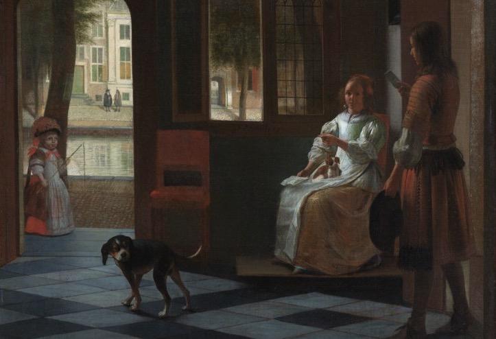Man hands a letter to a woman in a hall by Pieter de Hooch