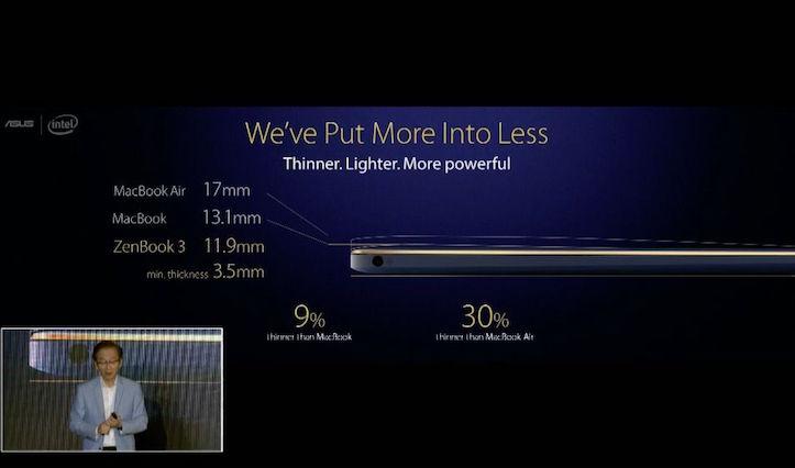 Asus ZenBook 3 MacBook Comparison