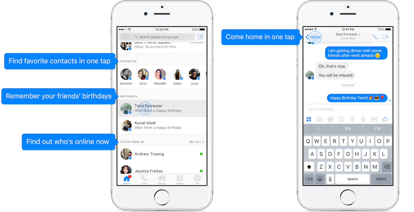 New Home Tab in Facebook Messenger