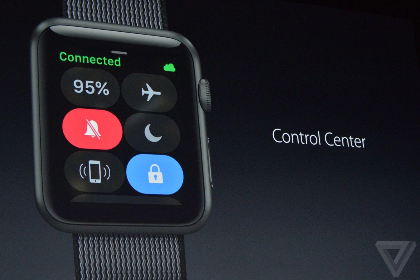 Apple wwdc WatchOS 3 Control Center