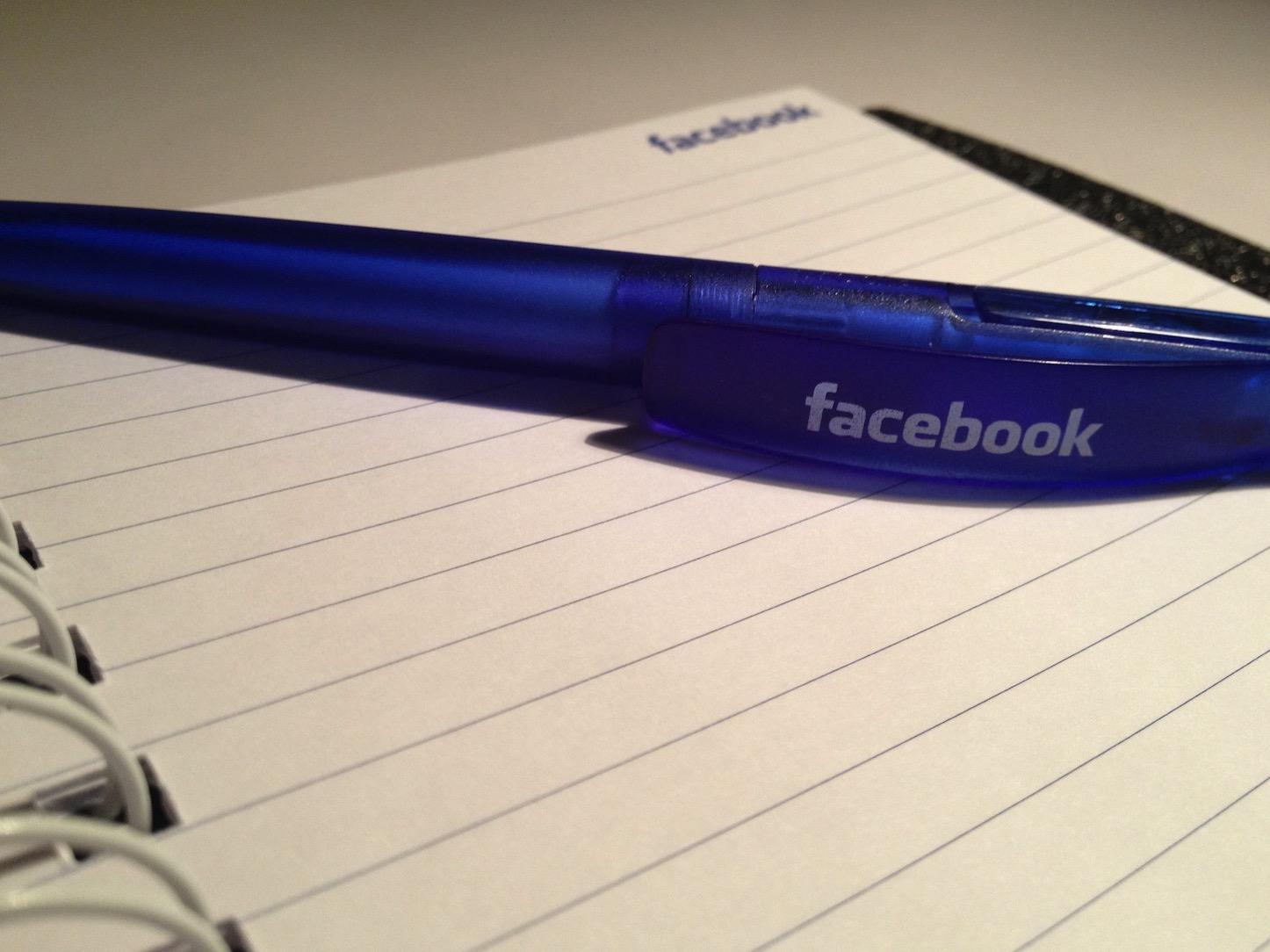 Facebook pen and notebook