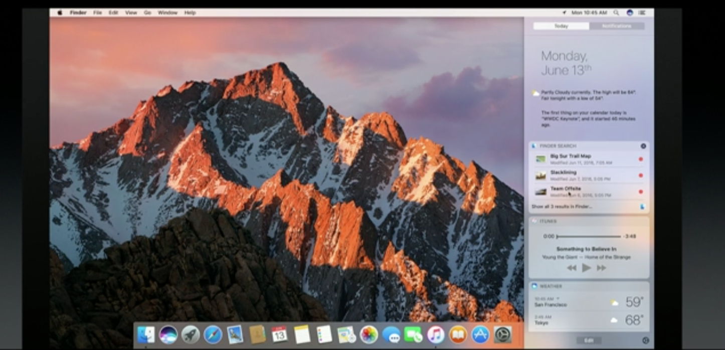 MacOS Sierra Apple WWDC 2016