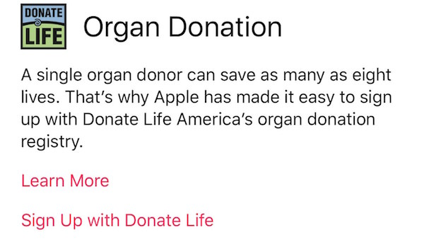 Organ donor signup