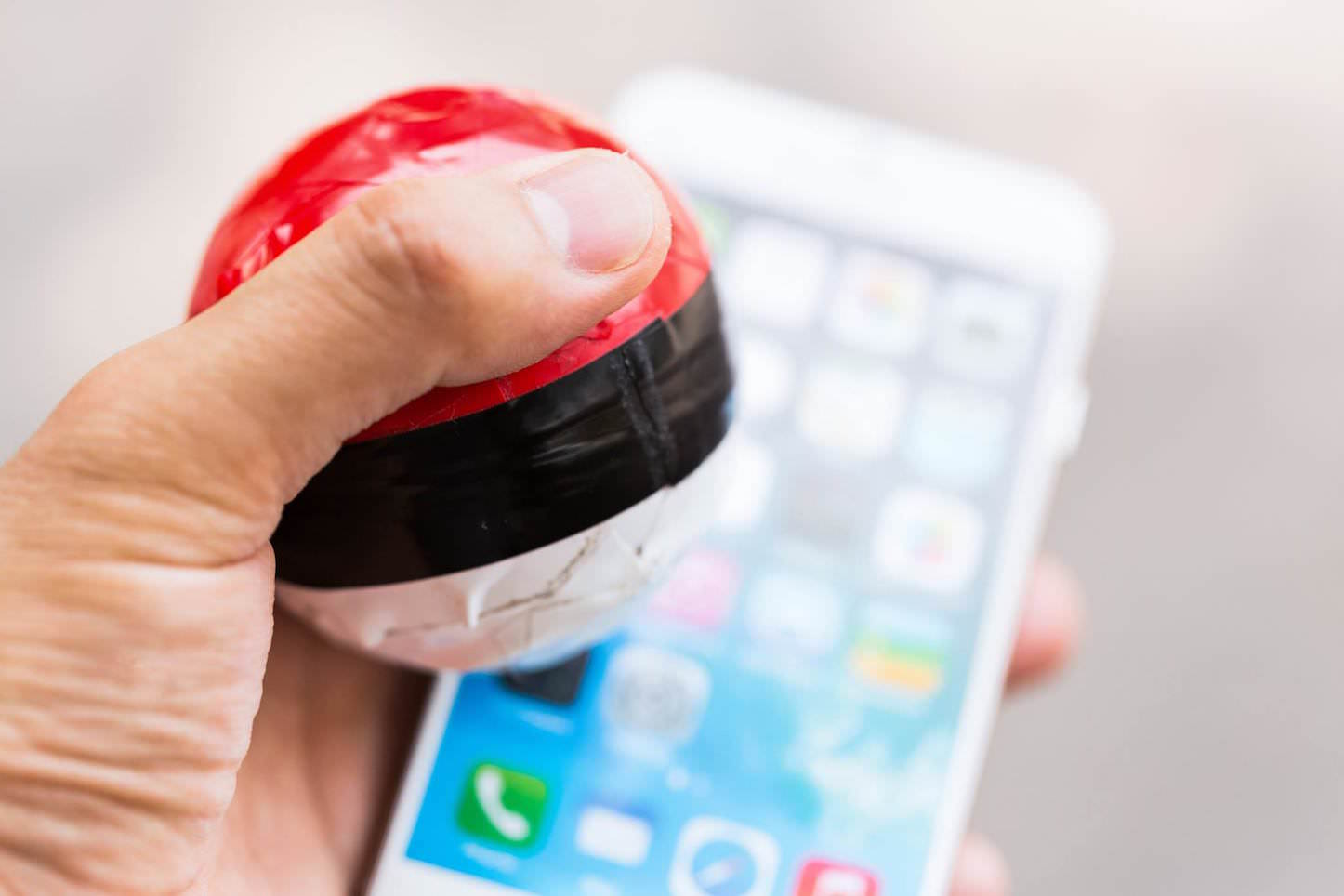 Pokemon ball and iphone