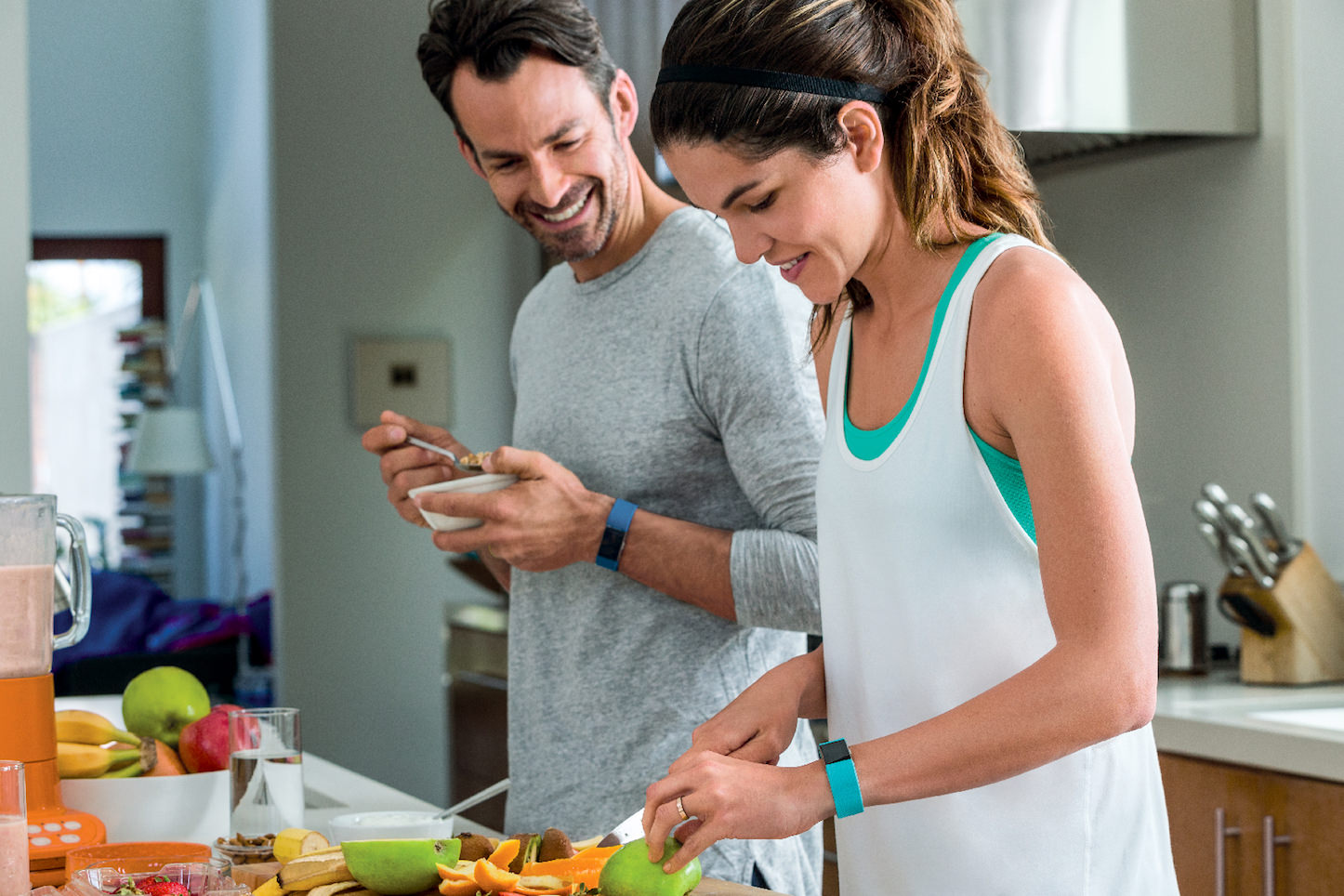Fitbit Charge 2 Couple Kitchen Lifestyle