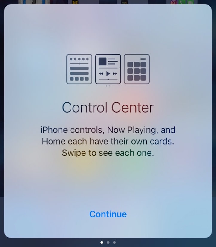 Control center opening screen