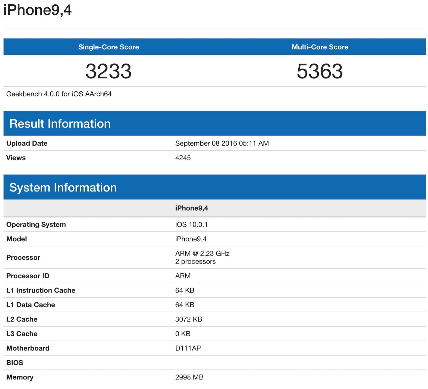 Iphone7plus geekbench benchmark test