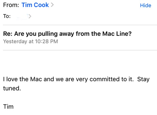 Tim cook mac email