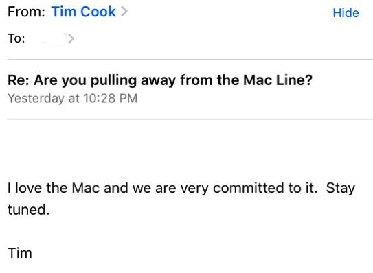 Tim cook mac email