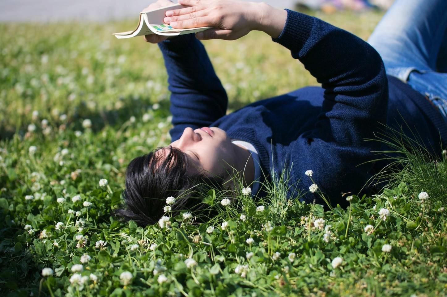 Ookawa Reading on Grass