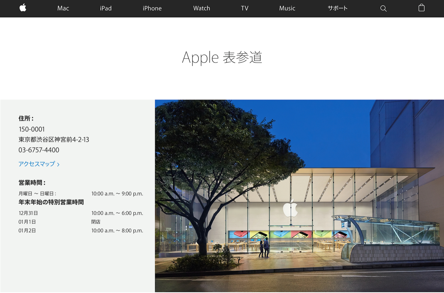 Apple Store Omotesando 2017 schedule