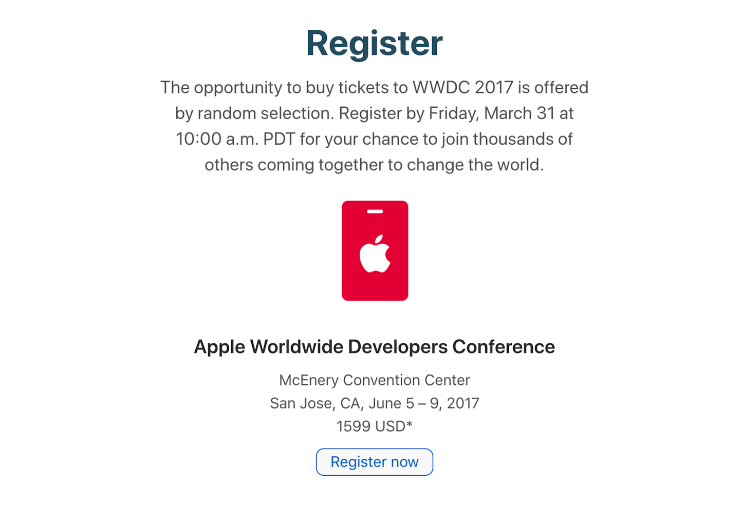 Register now for WWDC2017