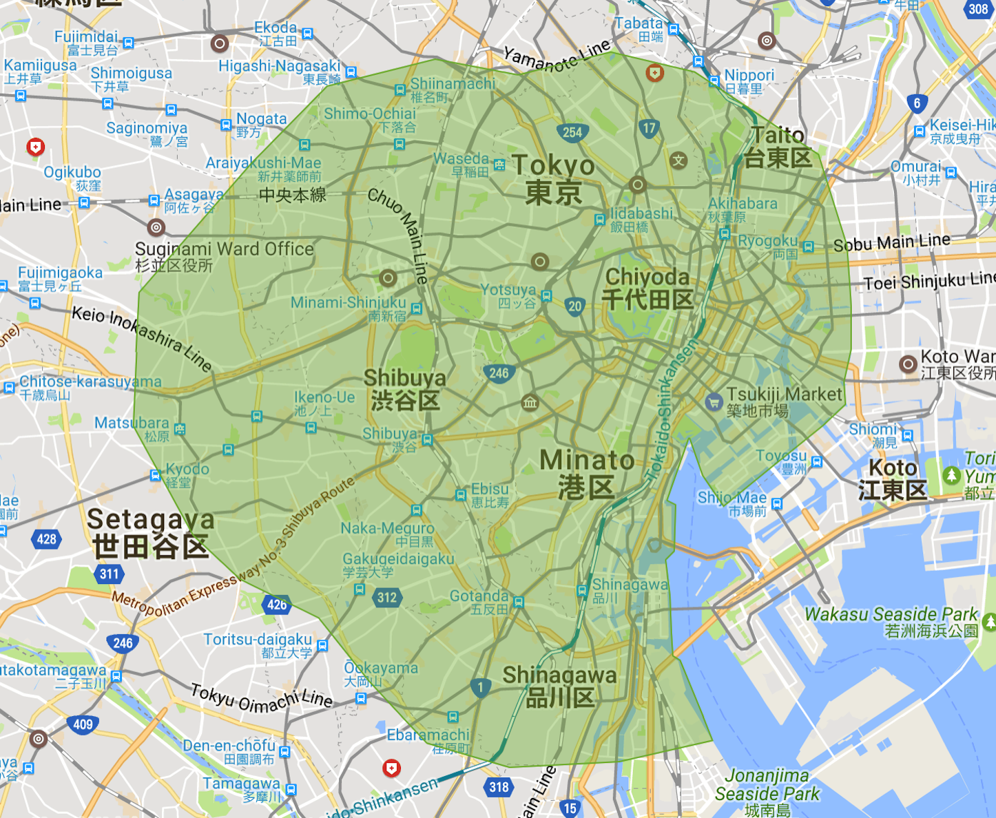 UberEATS Tokyo Map Apr2017