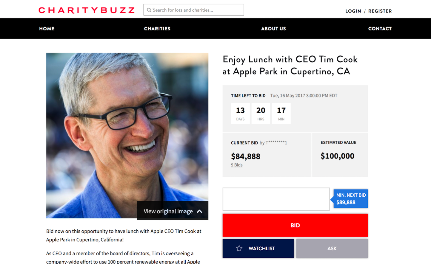Charity Buzz Tim Cook