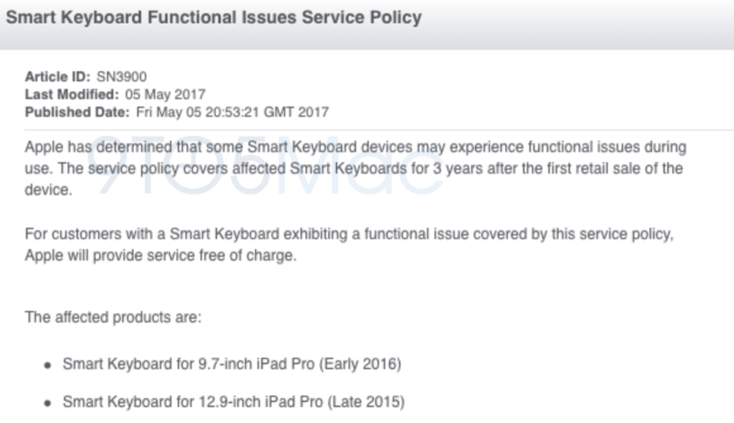 Smart keyboard fucntional issues service policy 9to5mac