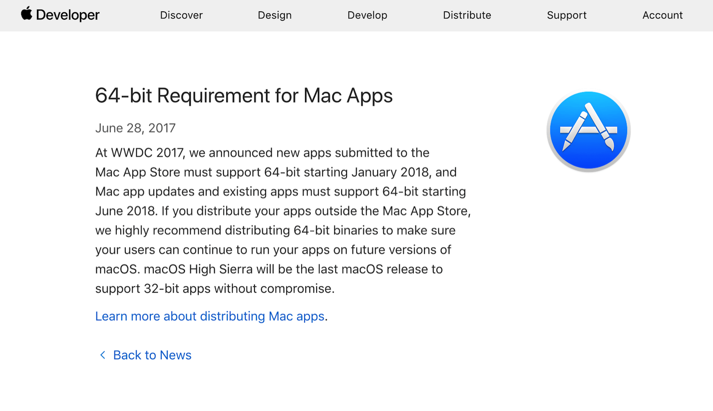 64bit requirement for mac apps