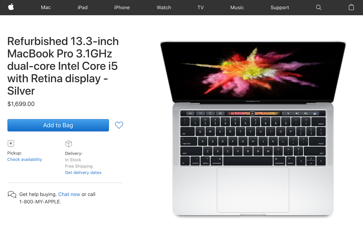 Apple USA 13inch MBP2017 refurbished