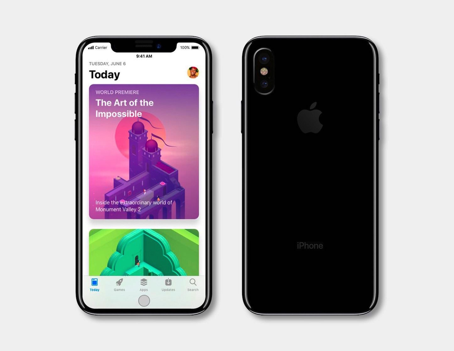 IPhone 8 Pro design with virtual home button