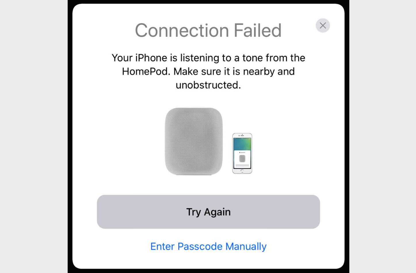 Connection Failed Homepod Setup