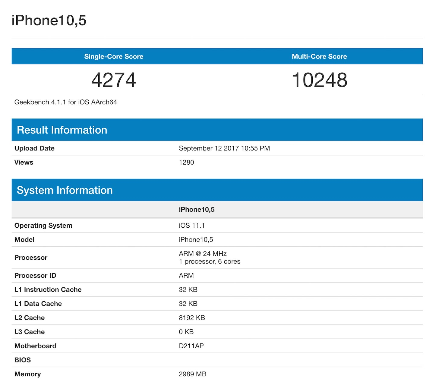Iphone 8x geekbench