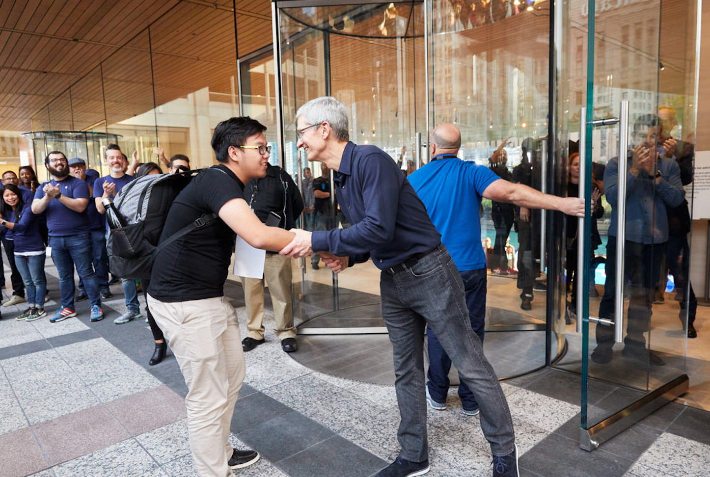 Apple michiganave waterfront tim cook greeting