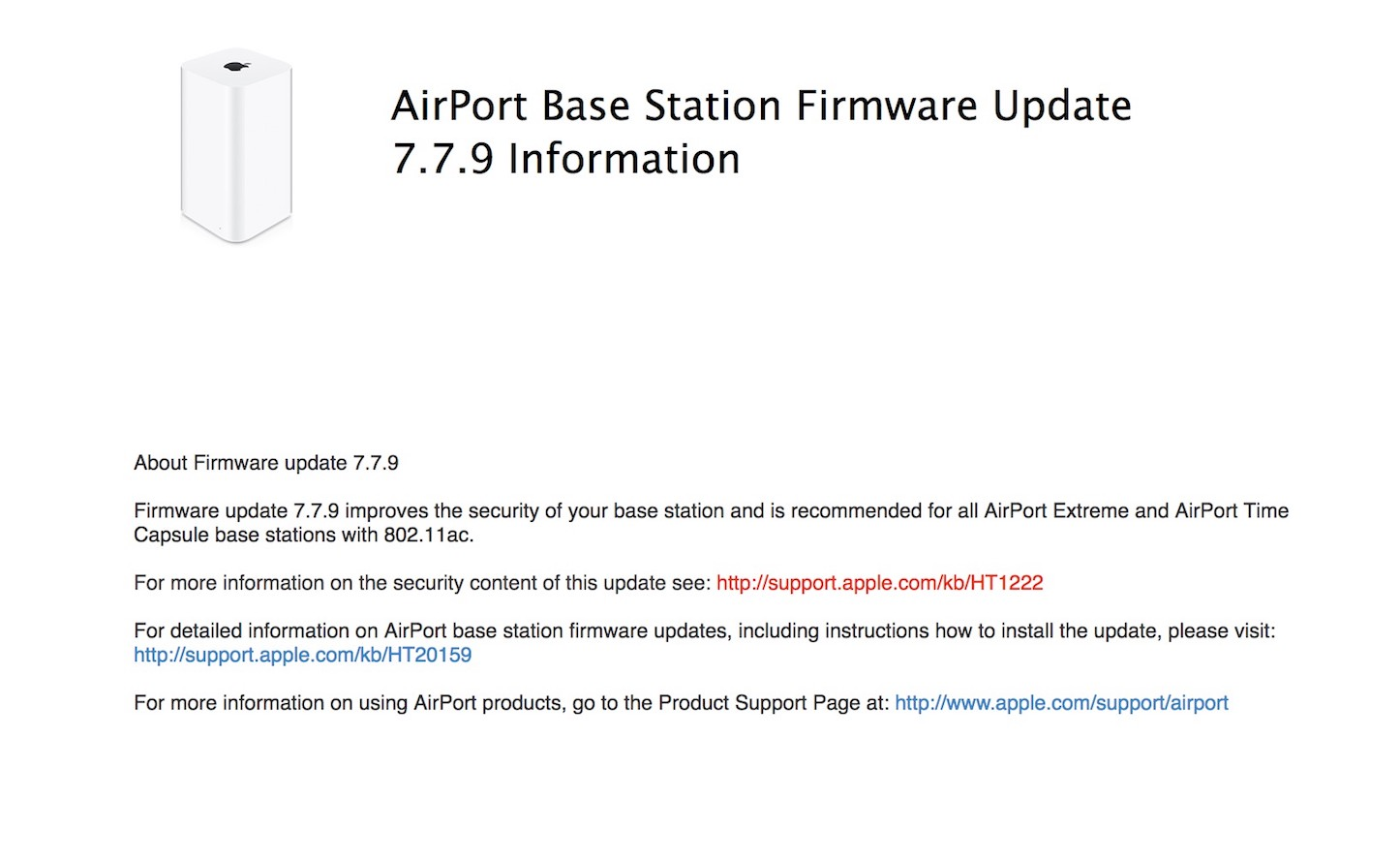 Firmware Update for AirPort Base Station