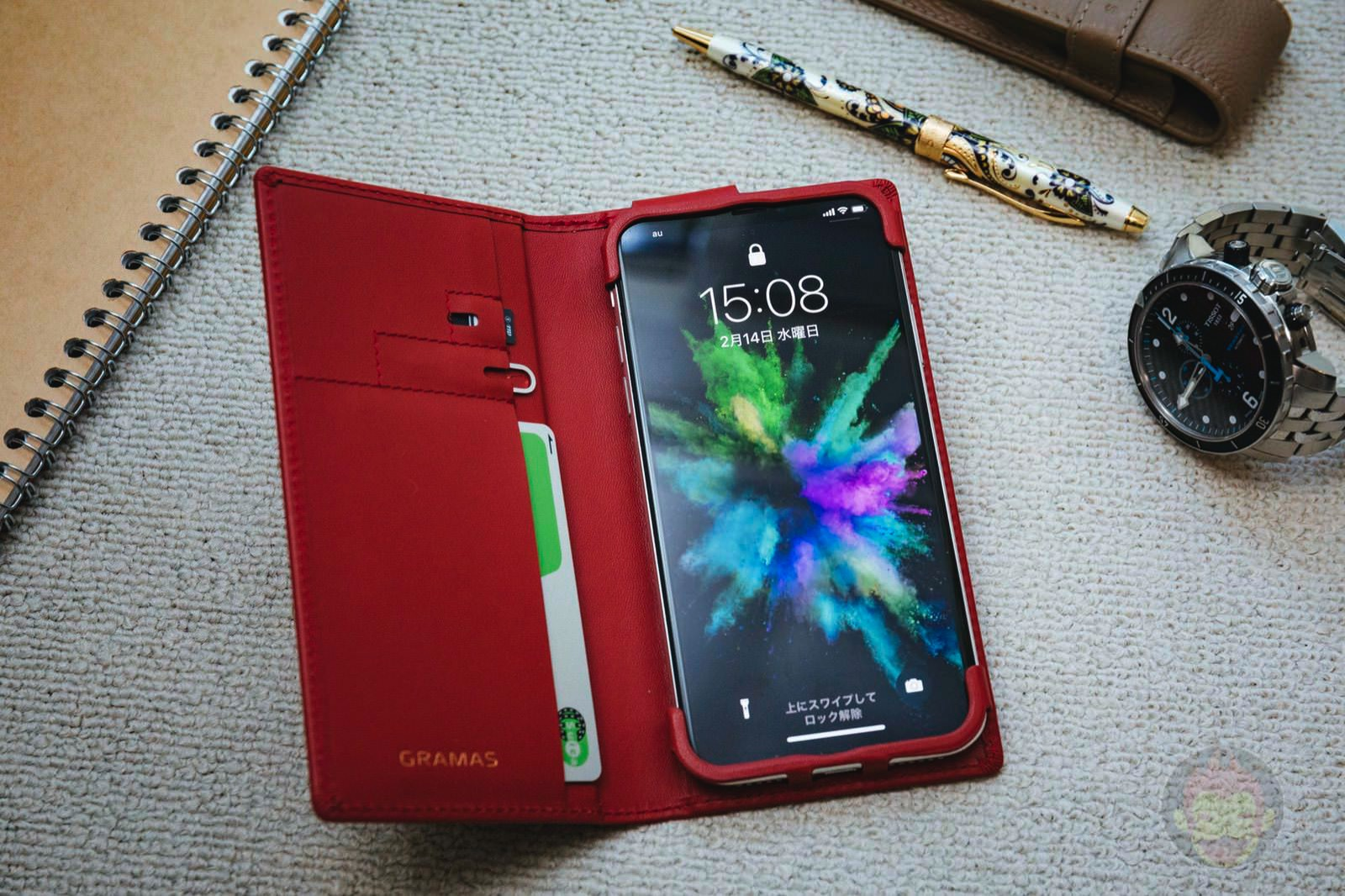 GRAMAS Full Leather Case Red for iPhoneX SIM PIN 01