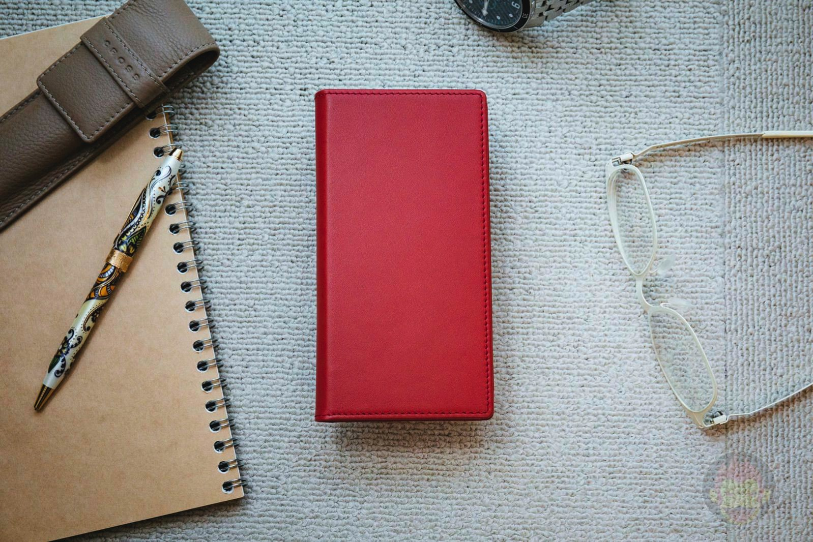 GRAMAS Full Leather Case Red for iPhoneX SIM PIN 02