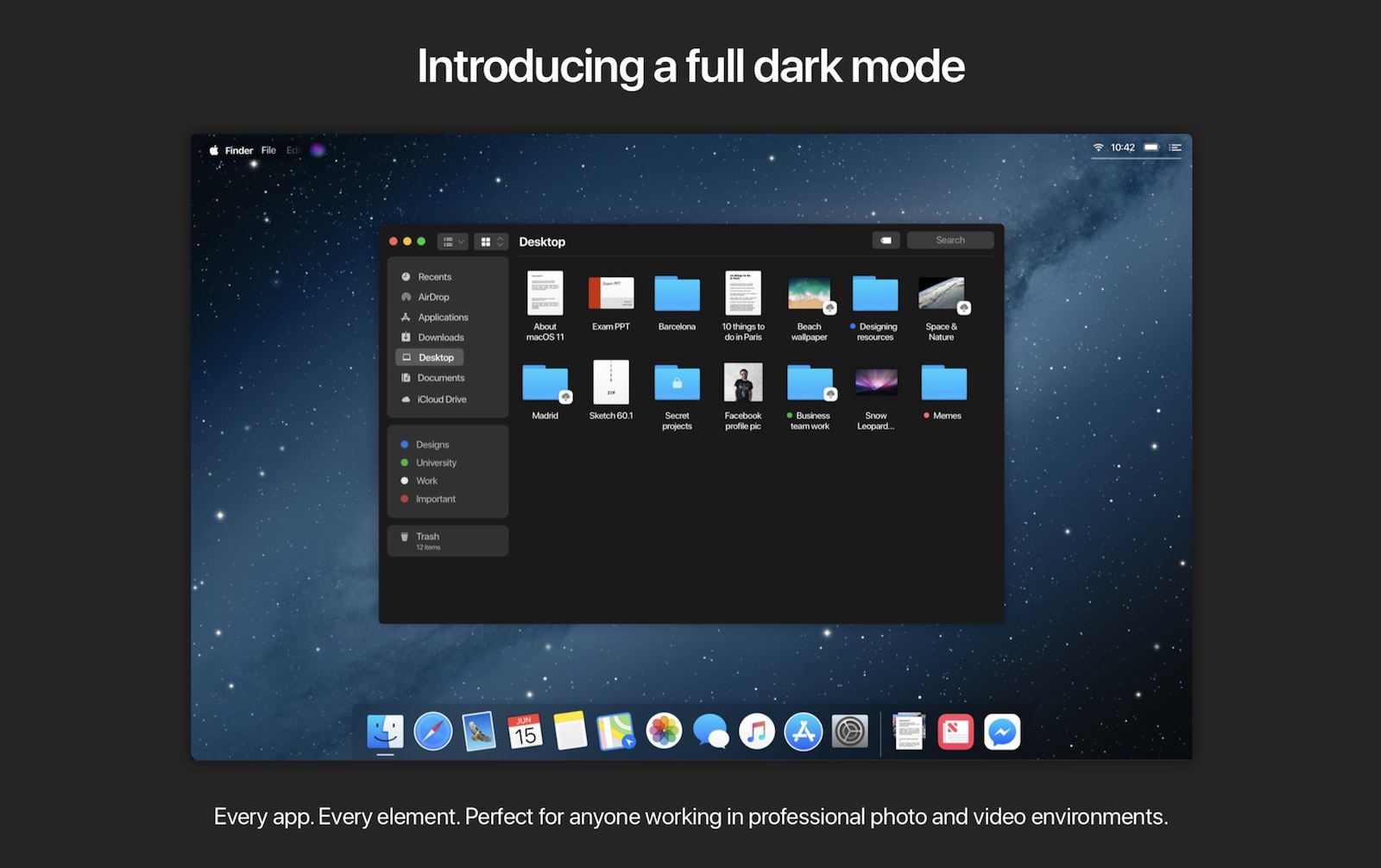 MacOS11 concept dark mode