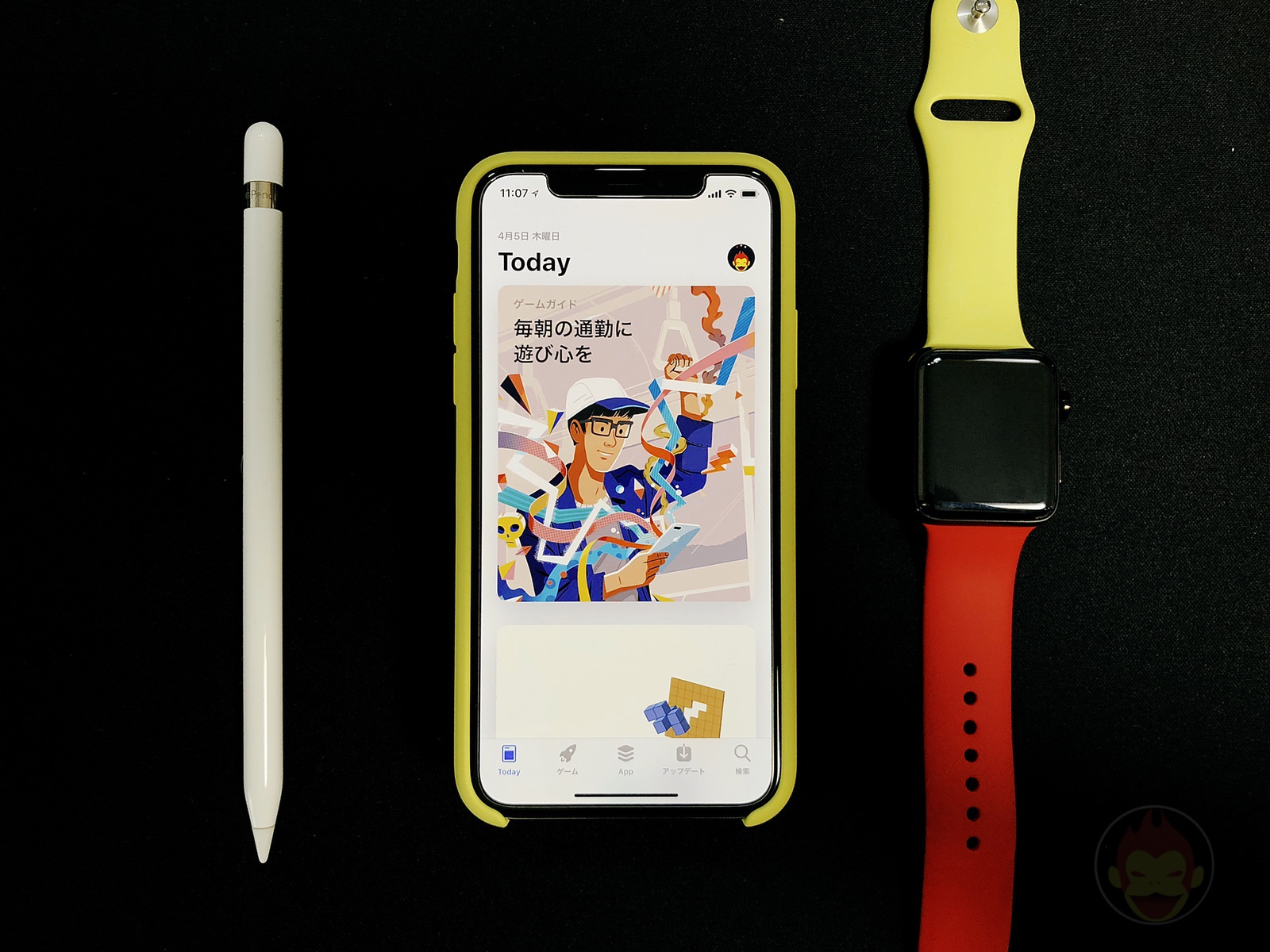 iPhone X and App Store with Apple Pencil and Watch