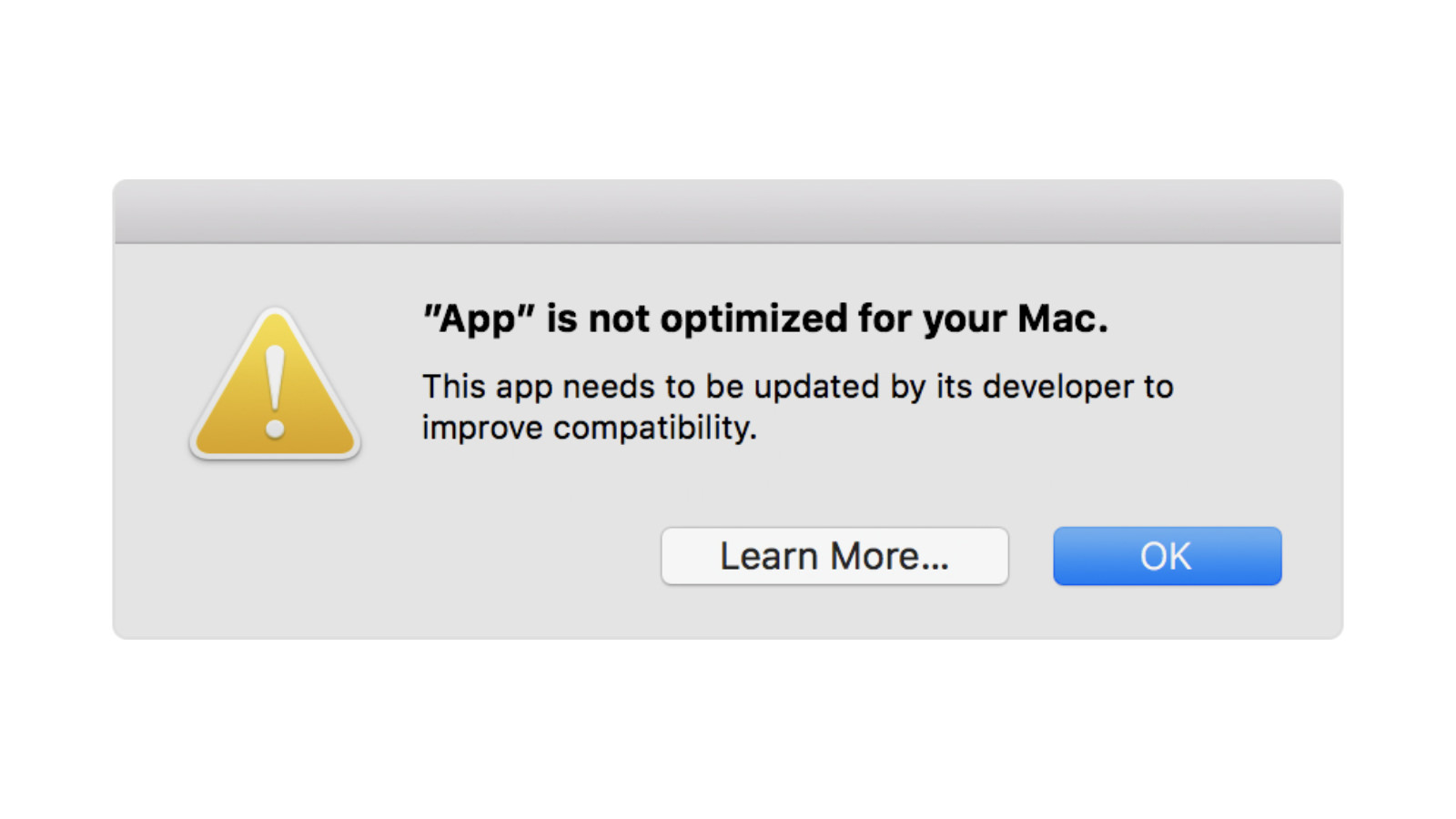 App is not customized for your mac