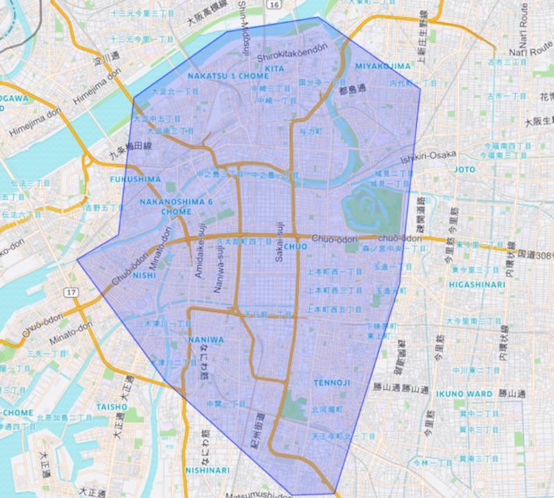 Uber Eats Osaka Service Area