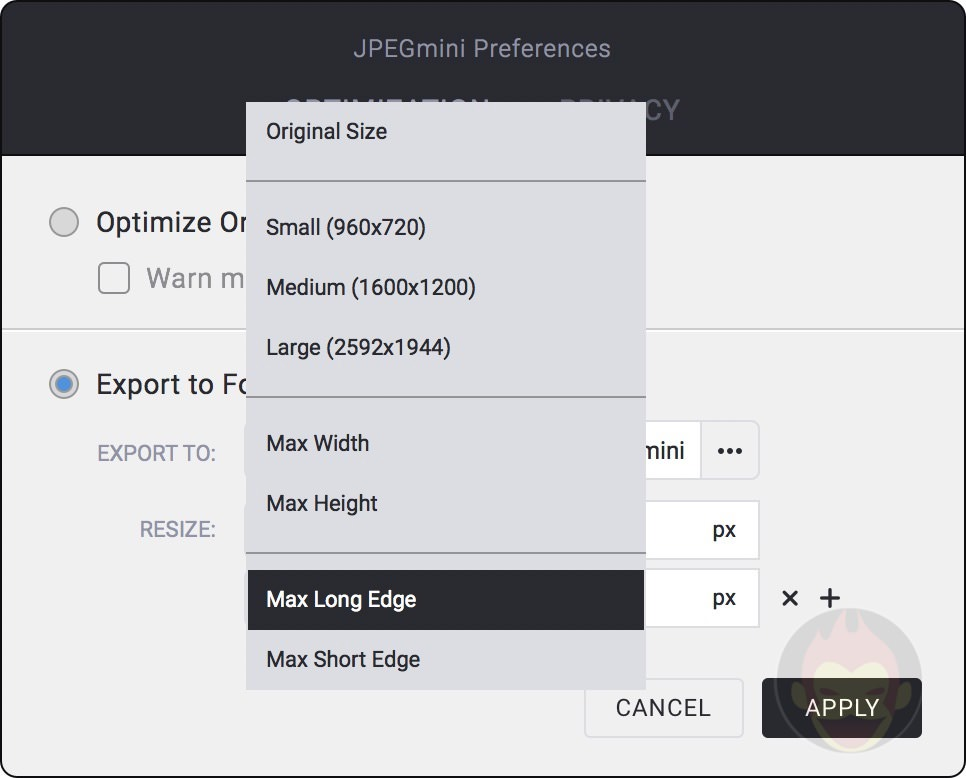 JPEGmini preferences exporting to folder 04