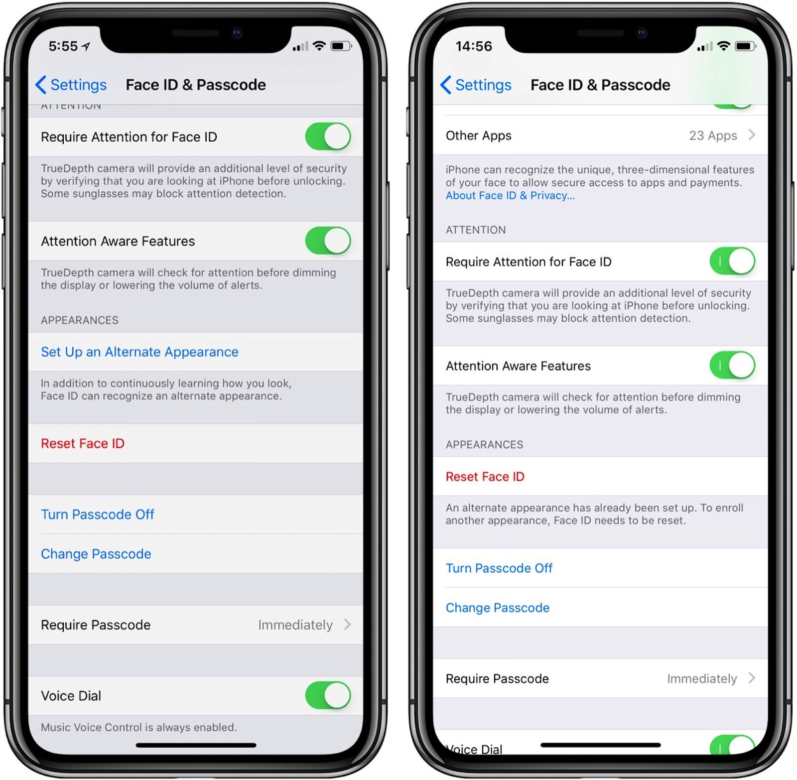 FaceID and PassCode iOS12