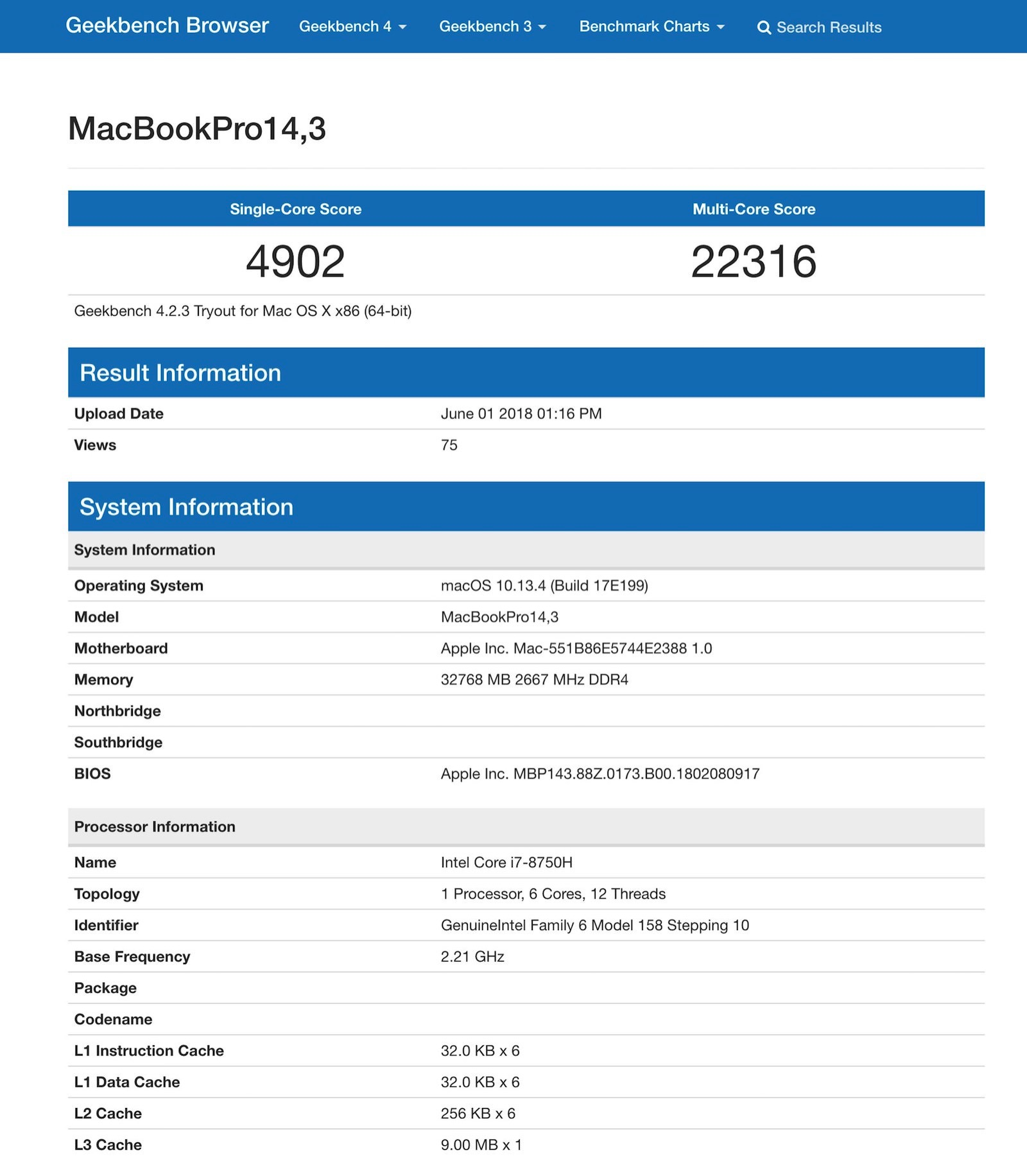 MacBook Pro Geekbench Score 2018