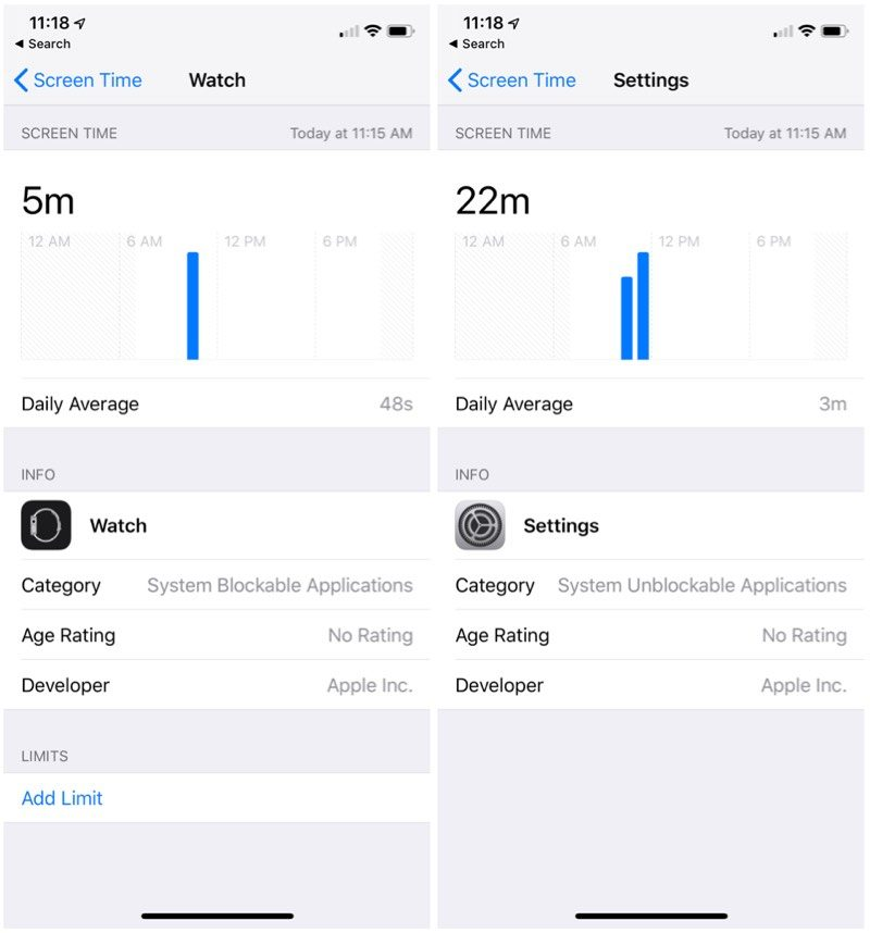 ScreenTime Info in iOS12 Beta2