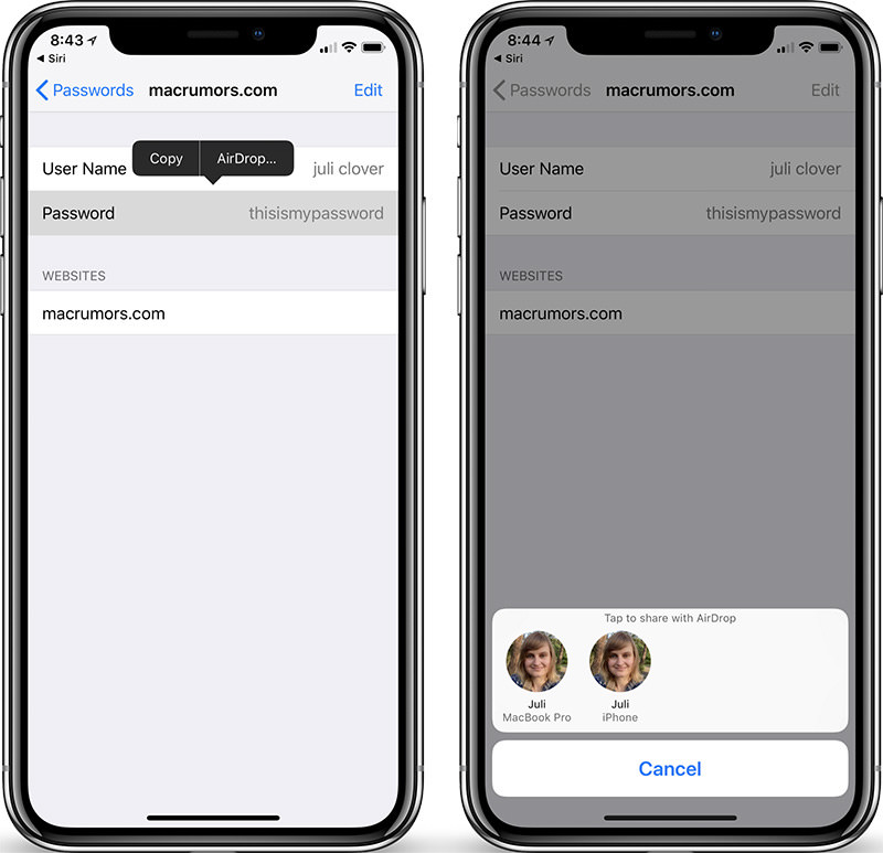 Sharing Passwords in iOS12