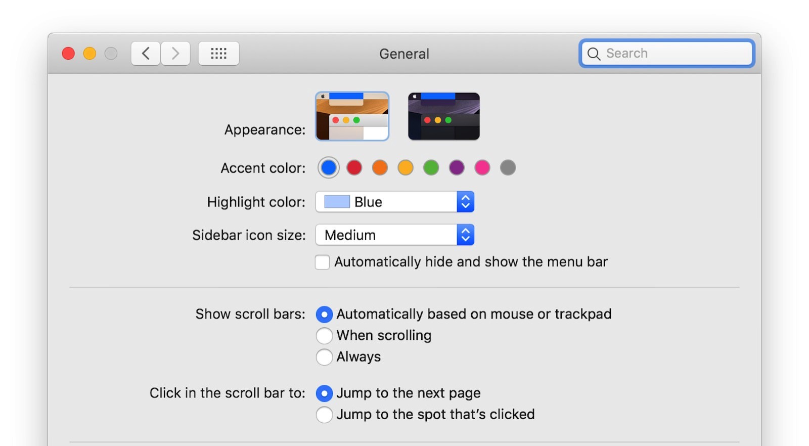 Accent color on mojave