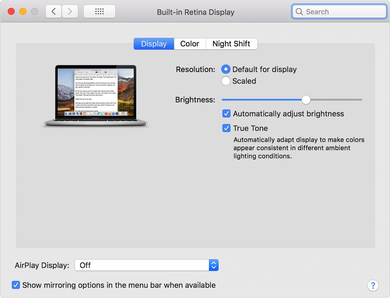 Macos macbook pro system preferences built in retina display true tone