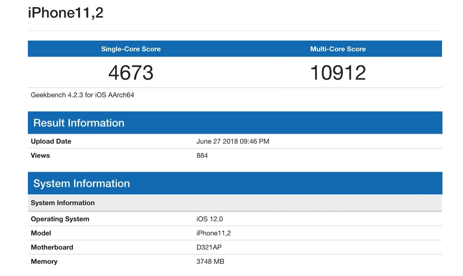 New iphone geekbench score