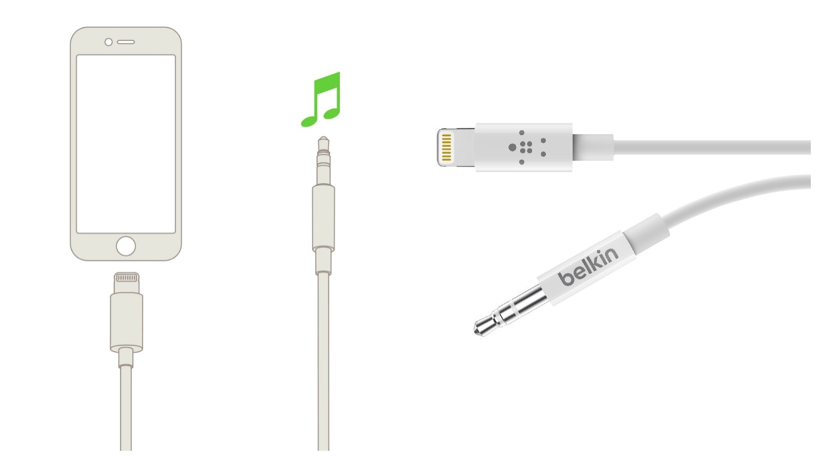 Belkin headphone jack to lightning adaptor