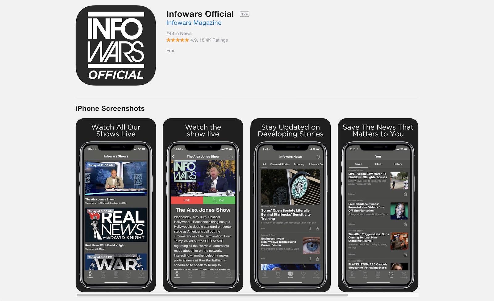 Infowars app taken down by apple