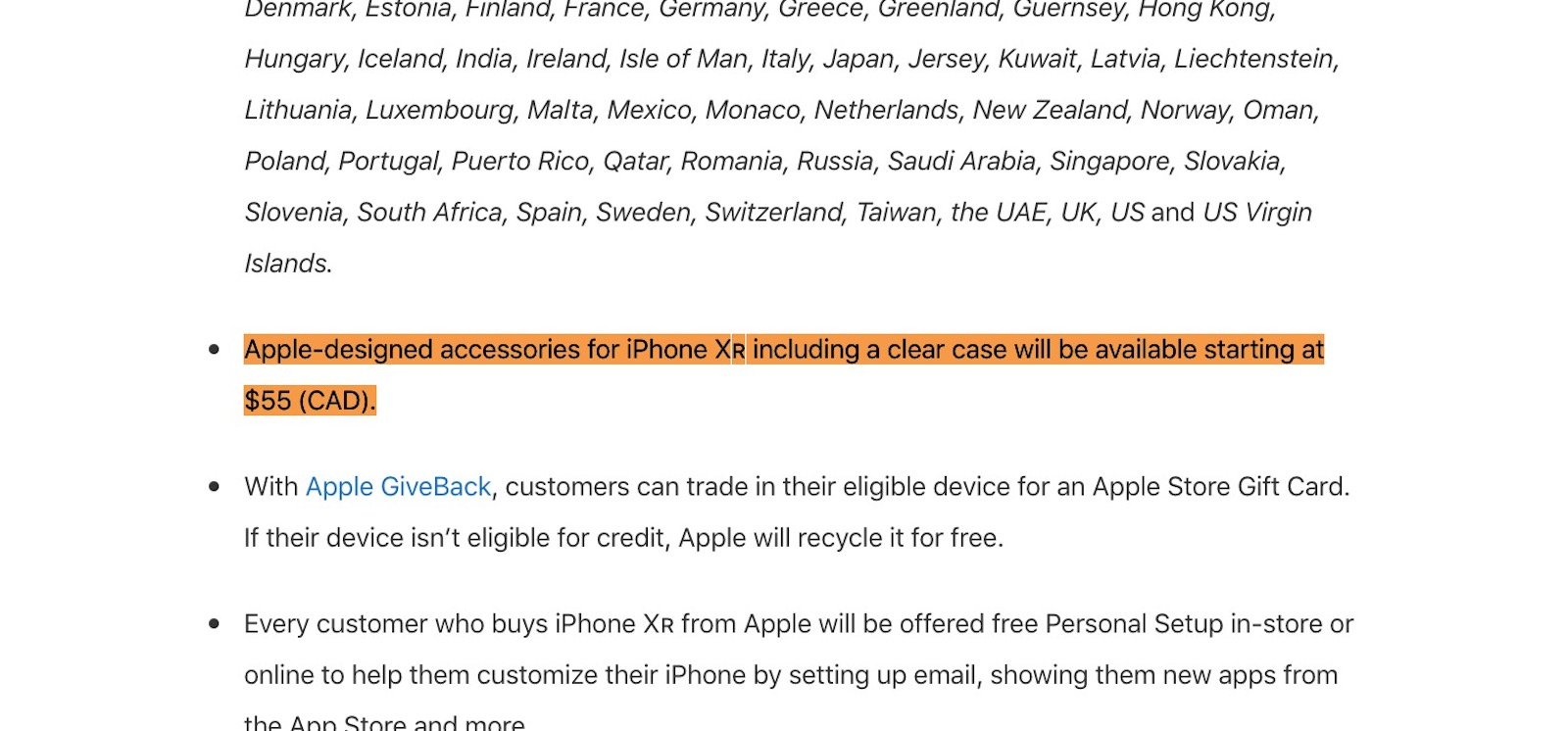 Canada press release for iphonxr