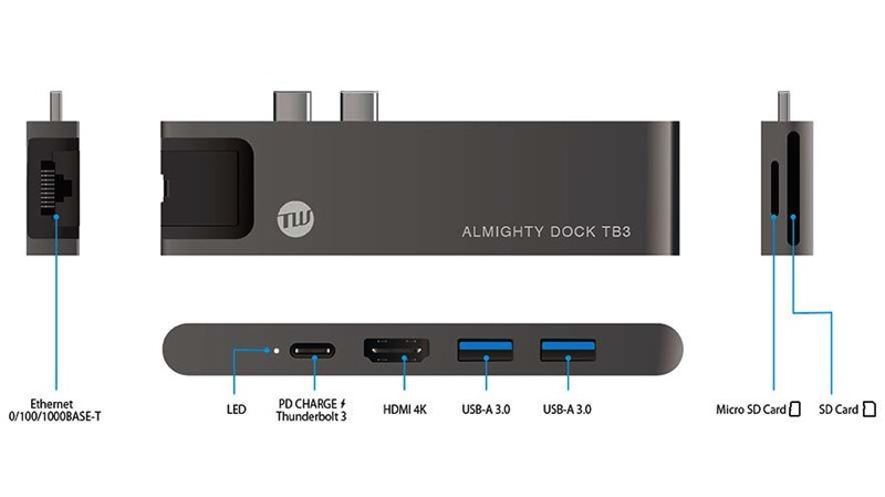 TUNEWEAR Almighty Dock TB3 for MacBook Pro and Air 3