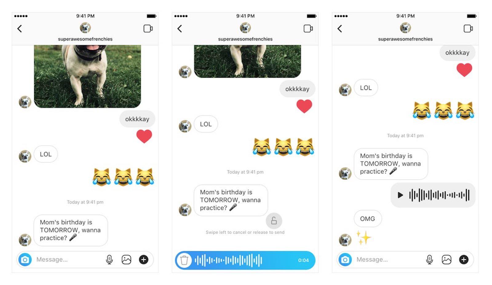 DM voice messages in instagram