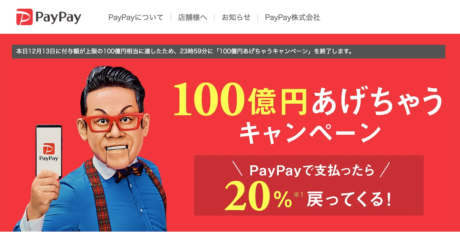 PayPay Campaign End