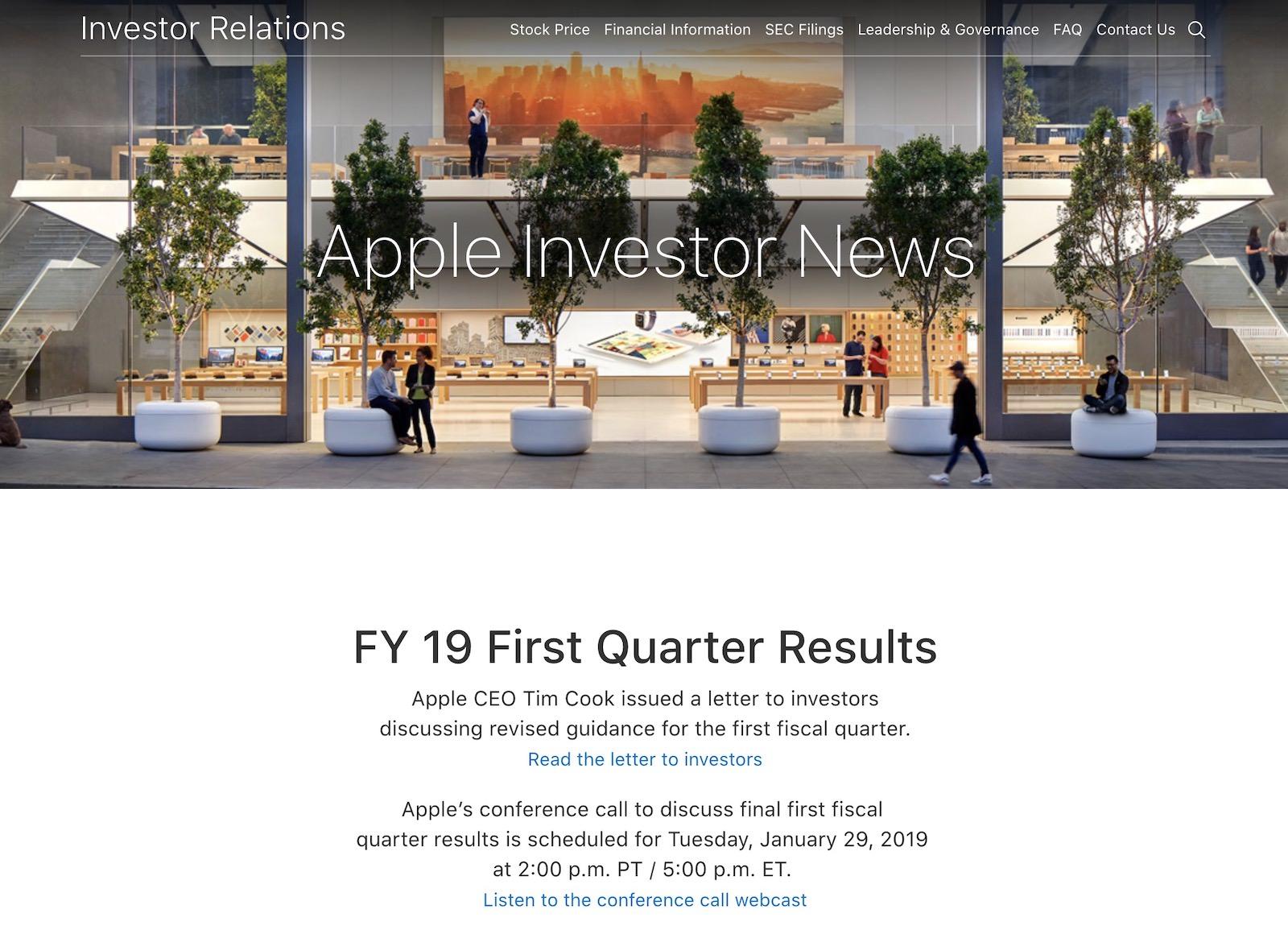 Apple investor news 2019fy19 first quarter