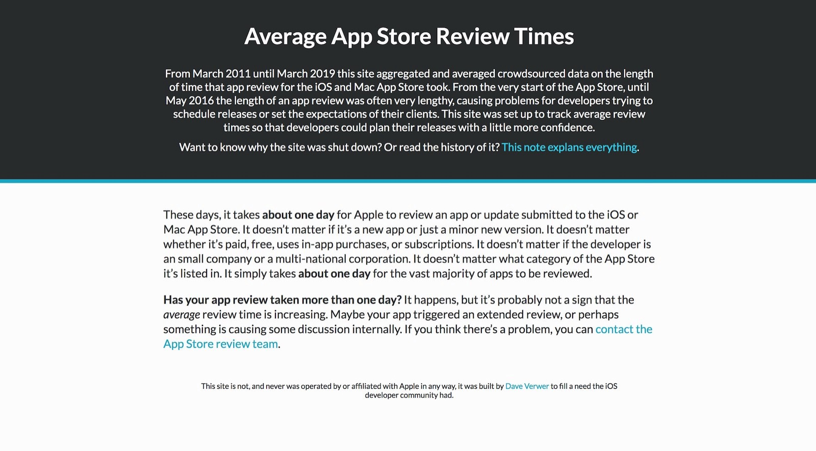 App Store Review times is shutting down