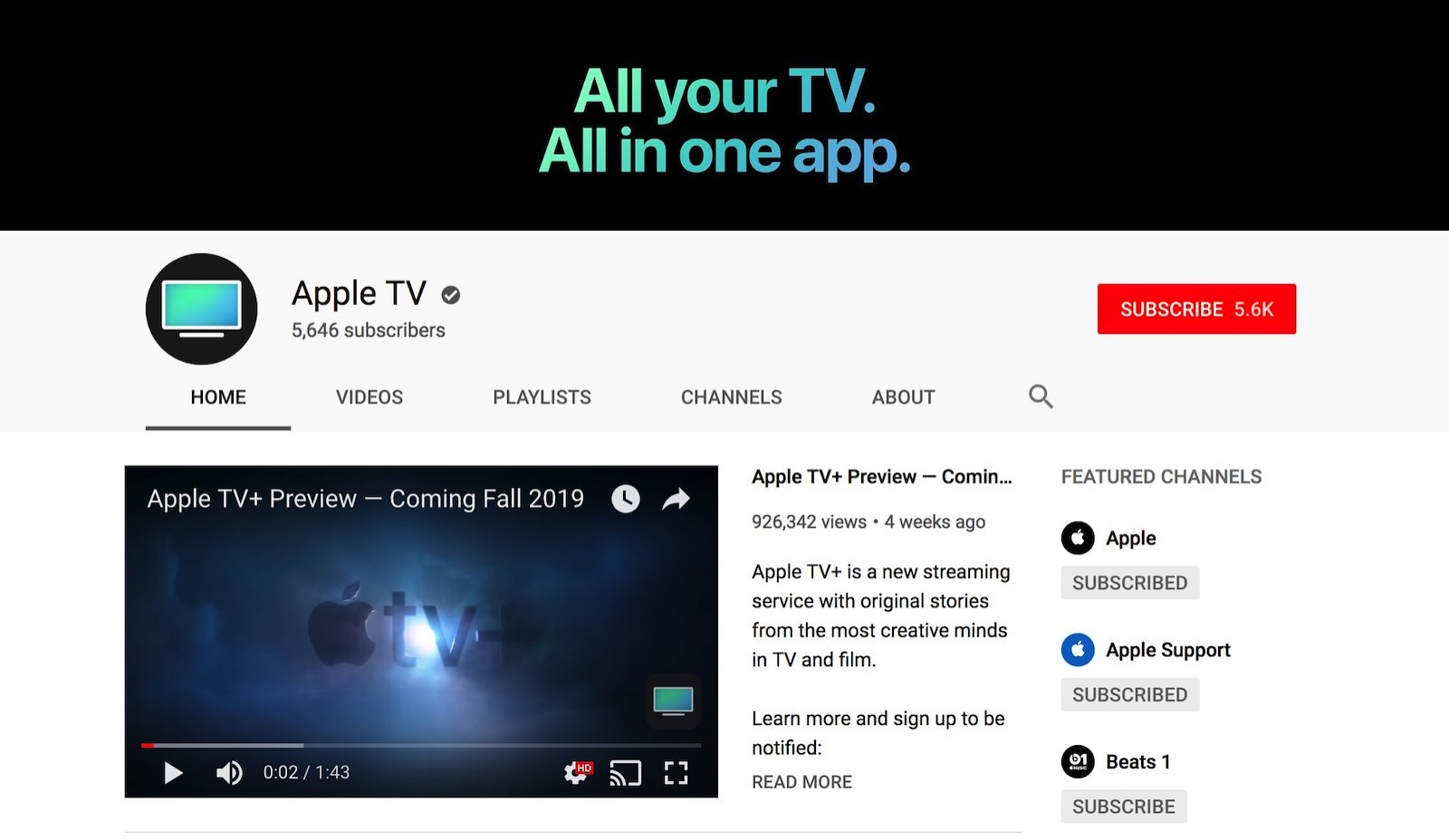 Apple tv youtube channel