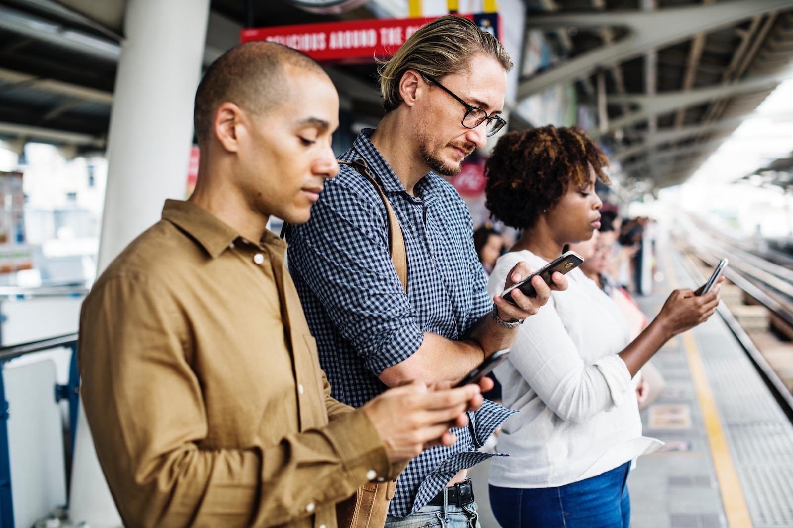 Adult black caucasian 1061579 people using phones